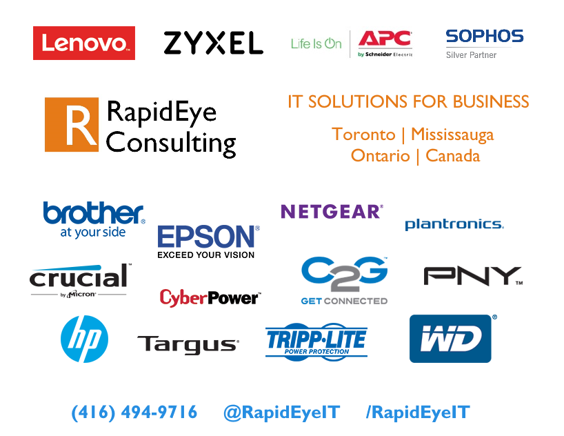 (416) 494-9716 - A photo of brand names of computer products that we have available to order and install at your business location in Toronto or Mississauga, Ontario, Canada. We sell Lenovo, HP, Sophos, Brother, Epson, ZyXel, Netgear, APC, CyberPower, Tripp-lite, Crucial, WD (Western Digital) and many more brands. Submit your RFQs to us when buying computer products for your office